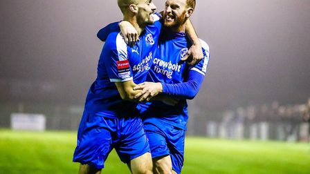 Two of Leiston's stalwarts, Patrick Brothers (right) and Matt Blake, celebrating a goal against Brom