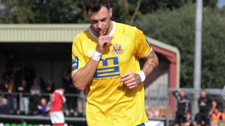 Phil Kelly, who scored a hat-trick in AFC Sudbury's 5-3 win over Brentwood Town tonight. Picture: CL