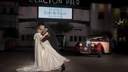 The happy couple were pictured together at Clacton pier after gettign married. Picture: CHRISTIAN DA