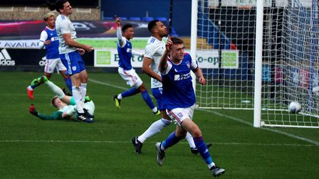 Jack Lankester celebrates after forcing the first goal for Ipswich Town's Under 23s against Cardiff