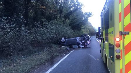 A car ended up in its roof after a crash on the A142 near Newmarket Picture: MILDENHALL POLICE