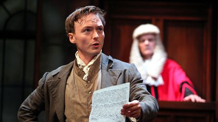 Joseph Prowen as William Hone and Nicholas Murchie as Justice Abbott in Trial by Laughter Photo: Phi