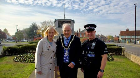 Cllr Linda McWilliams stands with Brightlingsea town council mayor Ben Smith and Sergeant Simon Tatt