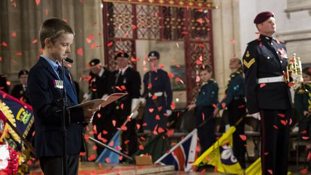 The exhortation was read by Daniel Saunders, the nine-year-old great-grandson of Sergeant Arthur Sau