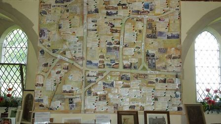 The map of the village of Barnham which hangs in St Gregory's Church, in Barnham. Picture: SUE NUTT