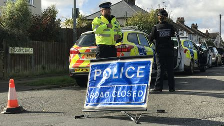 Police at the scene of the incident in October Picture: NEIL DIDSBURY