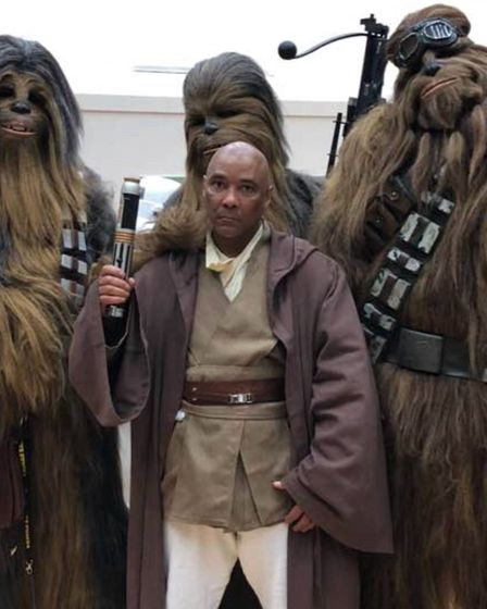 Star Wars stuntman Oliver Wilson with some friendly wookies. He will be appearing at Moyse's Hall sc