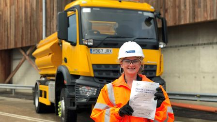 Gemma Allard is training to qualify as a gritter driver. Picture: SUFFOLK HIGHWAYS