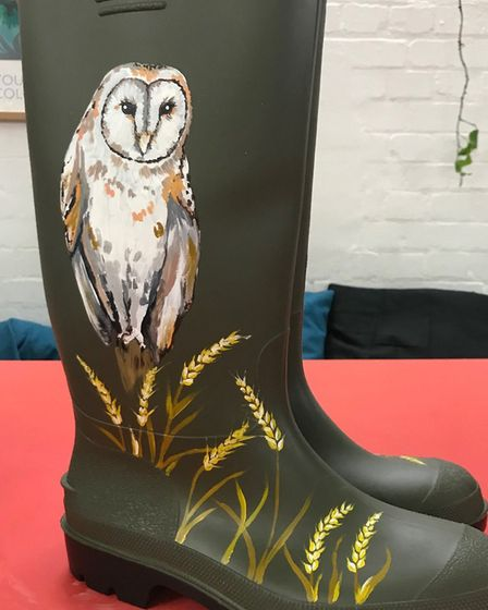 Martin Lines' welly boot with a barn owl painted on