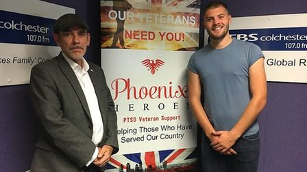 Gary Stockton with Curtis Tyler of BFBS Radio in Colchester Picture: PHOENIX HEROES CIC
