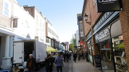 Colchester on market day 2018. Where should new water fountains be located in the town centre? Pict