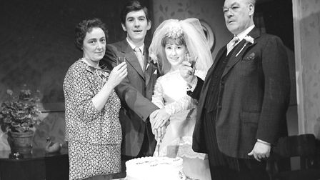 Ian McKellen, second left, in 'All In Good Time ' his final production at Ipswich Arts Theatre Octob
