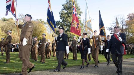 Ipswich Remembrance Sunday service at the War Memorial,Christchurch Park in 2017. Picture:NIGE BROWN