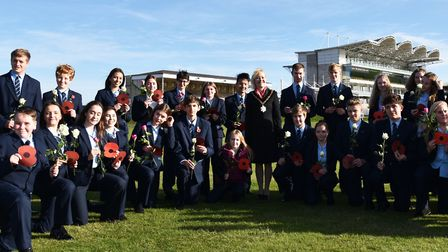 Students from Newmarket Academy at the Rowley Mile racecourse Picture: CUBIQ