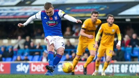 Freddie Sears fires Town into a 1-0 lead against Preston from the penalty spot. Photo: Steve Waller