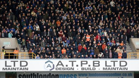 Town fans at The Den for the match against Millwall Picture Pagepix