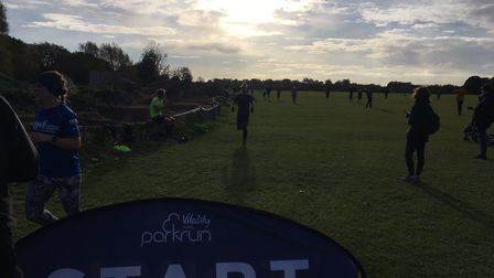 Runners in silhouette at last Saturday's Coldham's Common parkun, held in cold but bright conditions