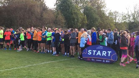 Runners congregate for the start of the fifth Coldham's Common parkrun in Cambridge last Saturday. P