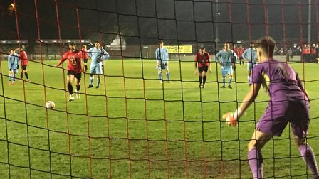 Histon skipper, Max York, steps up to convert a 26th minute penalty to put Histon 2-0 up against Woo