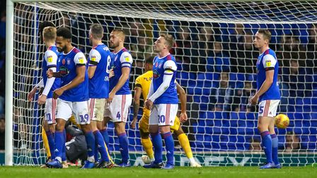 Despair on the faces of the Town players after Preston North End had levelled from a free kick. P
