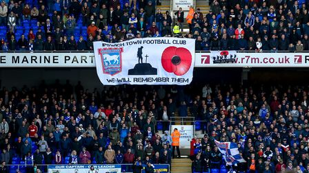Remembrance banners in the stands ahead of the Preston North End game. Picture: STEVE WALLER