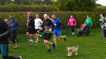 Runners and dogs in action at the Kesgrave parkrun, which attracted a field on 320 on Saturday. Pict
