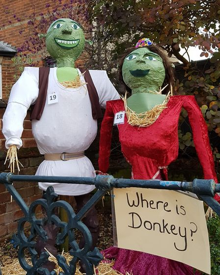 Shrek and Fiona starred at the Wickham Market Scarecrow Festival Picture: Rachel Edge