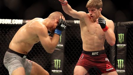 Arnold Allen (right) in action against Mads Burnell during UFC Liverpool in May. He'll now face Rick