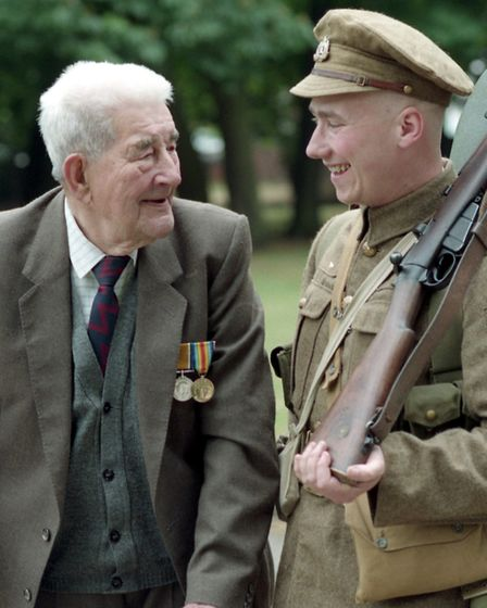 In earlier years the Khaki Chums met First World War veterans. Taff Gillingham is pictured with Batt
