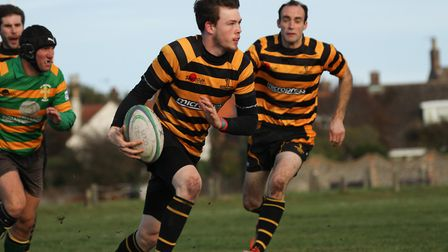 James Barton looks to break through for Southwold. Picture: LINDA CAYLEY