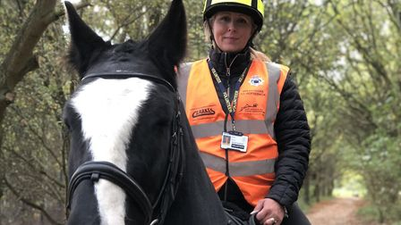 Police volunteer Sarah Hills and her horse Robbie Picture: SUFFOLK POLICE