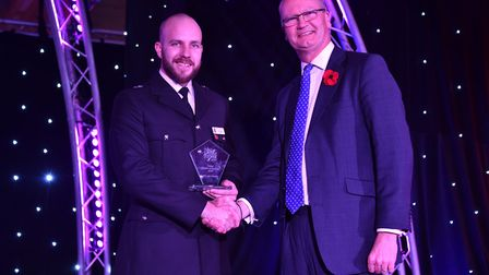 The police person of the year award was presented by Cllr Matthew Hicks to PC John Harvey at the awa