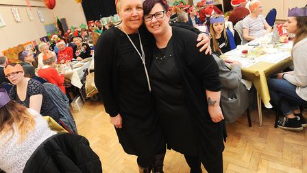 Jill Roberts and Michelle Frost at the Christmas dinner in 2015 Picture: GREGG BROWN