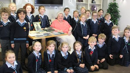 Year 2 pupils at Culford School meet Britain's last surviving female pilot Eleanor Wadsworth Picture