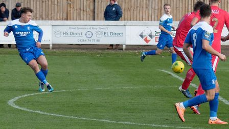 Jake Chambers-Shaw opens the scoring for Bury, in the 3-0 home win over Tilbury from a fortnight ago