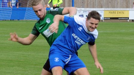 Ollie Hughes, who is set to lead Bury Town's attack against Mildenhall today. He has netted five goa