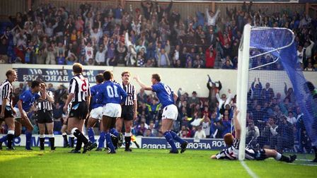 Town beat Newcastle 2-1 at Portman Road on this day in 1990