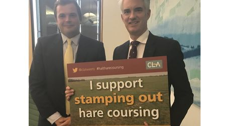 South Suffolk MP James Cartlidge with CLA member George Hurrell Picture: CLA