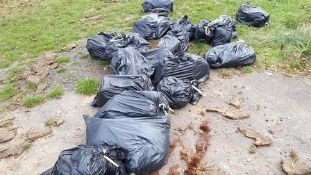 The bags of rubbish dumped in Framsden, which were found by police. Picture: STOWMARKET POLICE