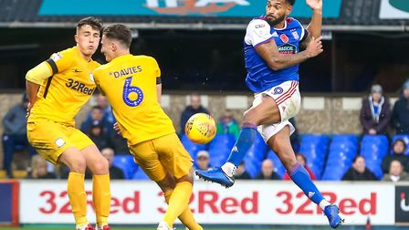 Jordan Roberts is set to lead the line again for Ipswich Town today. Photo: Steve Waller