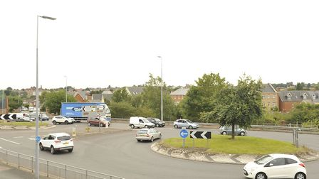 The double roundabout at the end of Ipswich Road before work started Picture: SU ANDERSON