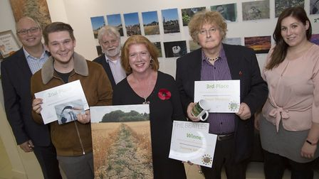 Photography winners from left Jacob Tilbrook, Suzanne Johnson and Trevor Sheldrake with judges Pictu