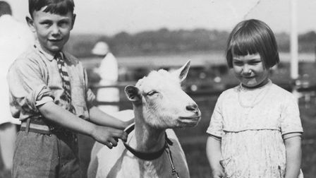 John and sister Pauline Potter with Miss Bruce Farrers's goat Didgemere Pearl during the first day o