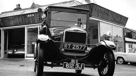 John Potter with his Model T Ford, which he entered in the London to Brighton vintage car run in 196