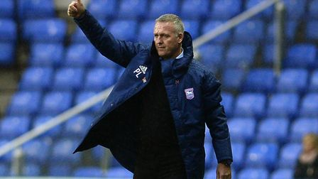 Ipswich Town manager Paul Lambert gives the thumbs up on the touchline at Reading. Photo: Pagepix