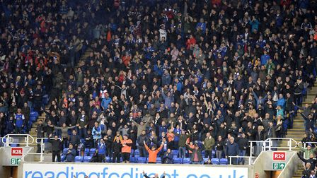 Town fans celebrate Gwion Edwards goal at Reading Picture Pagepix