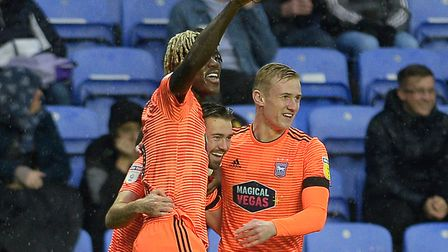 Gwion Edwards celebrates giving Ipswich the lead at Reading Picture Pagepix