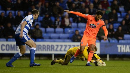 Reading keeper Anssi Jaakkola reclaims the ball from under Jordan Roberts during the second half Pic