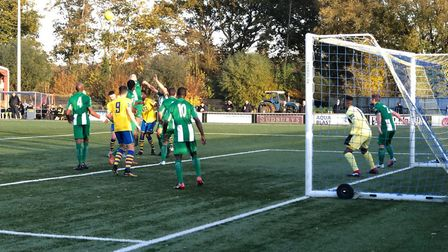 Action from AFC Sudbury's draw with Basildon on Saturday.