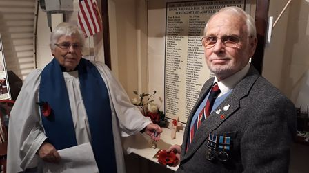 Olive Martin and Ron Ticker at Boxted Airfield museum's Armistice Day commemoration. Picture: RICHAR